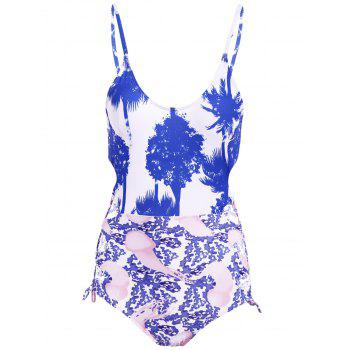 Lace Up Print Scoop Neck One Piece Swimwear
