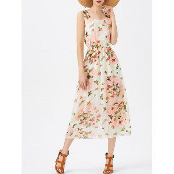 A Line Butterfly Pattern Chiffon Dress