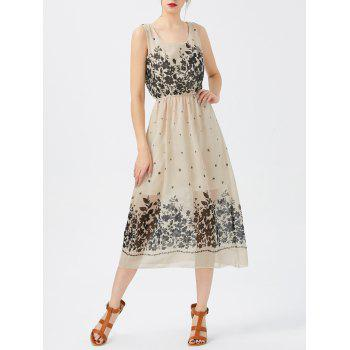 A Line Print Sheer Swing Chiffon Dress