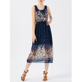 Printed See Thru Chiffon Swing Dress