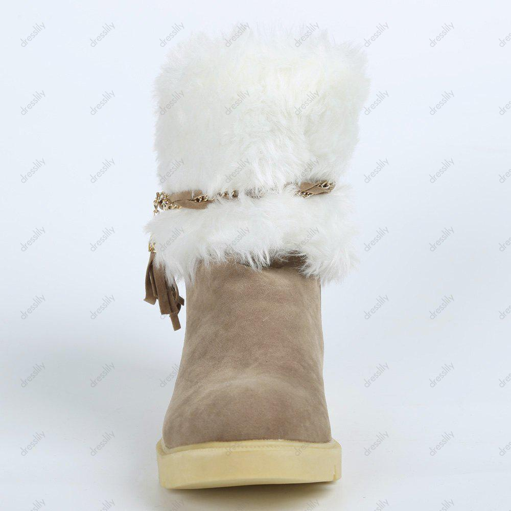 Cute Plush and Tassels Design Snow Boots For Women - APRICOT 39