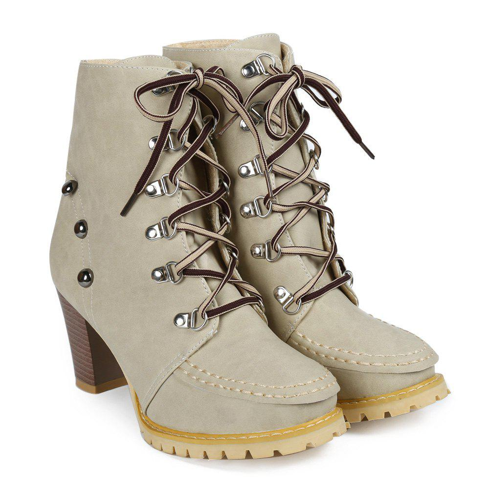 Trendy Lace-Up and Rivets Design Chunky Heel Short Boots For Women - APRICOT 40