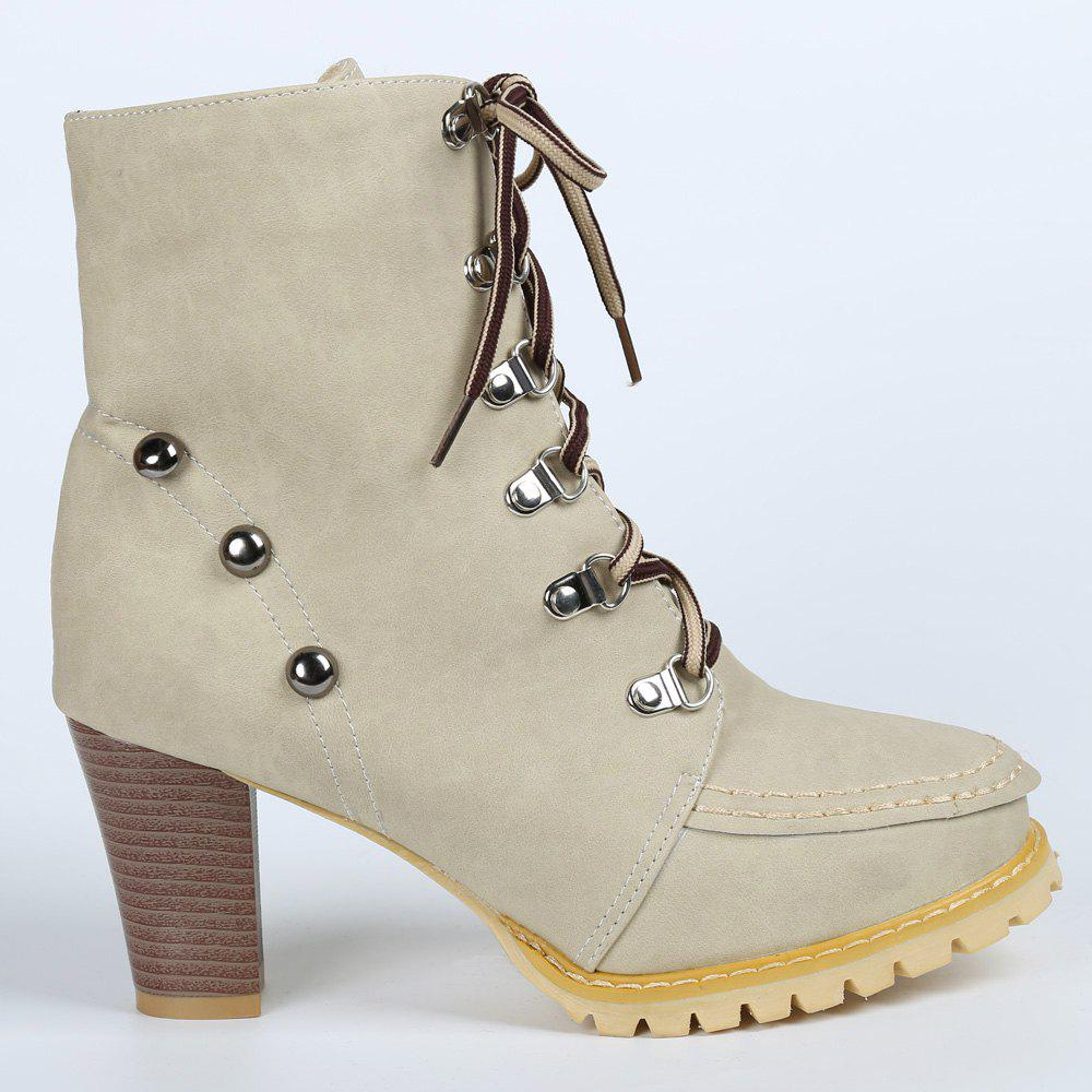 Trendy Lace-Up and Rivets Design Chunky Heel Short Boots For Women - APRICOT 38