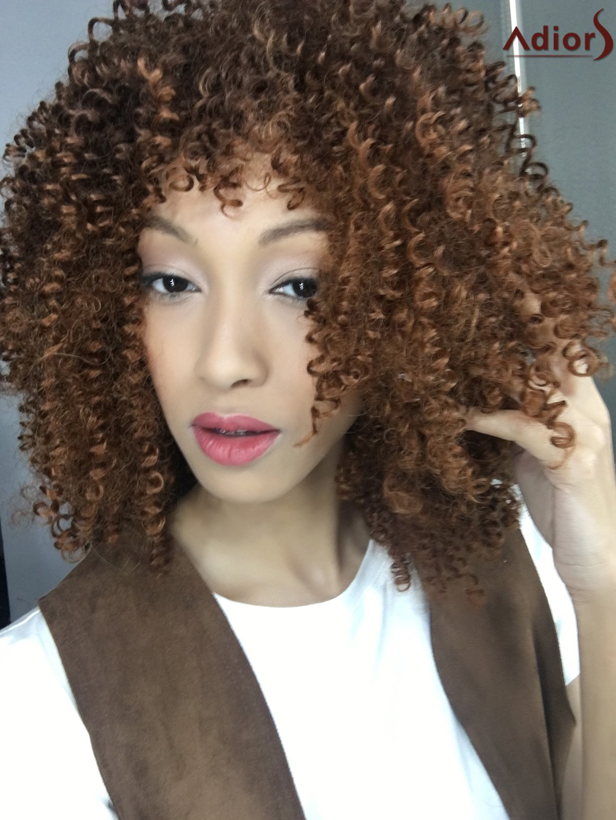 Stylish Medium Brown Synthetic Towheaded Afro Curly Capless Wig For Women - COLORMIX