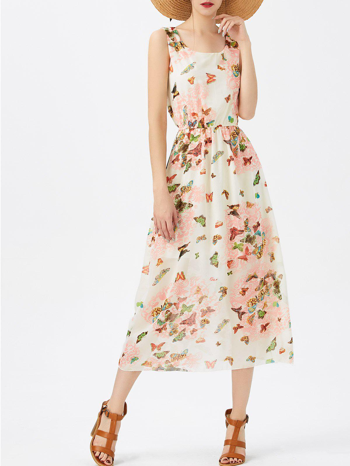 Dresslily USA A Line Butterfly Pattern Chiffon Dress