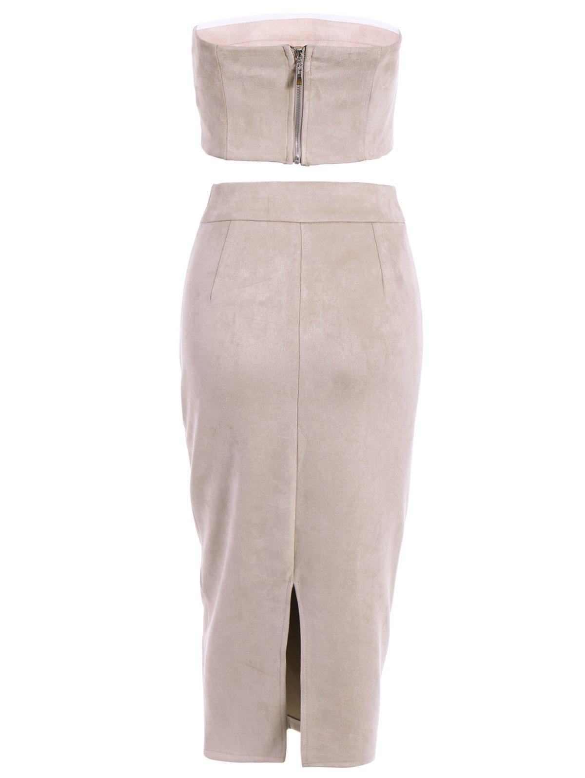 Suede Bodycon Midi Skirt with Tube Top - LIGHT APRICOT PINK L