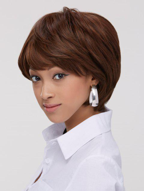 Synthetic Fluffy Straight Capless Short Wig - BROWN