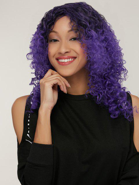 Medium Black Mixed Purple Side Parting Afro Curly Synthetic Wig - COLORMIX