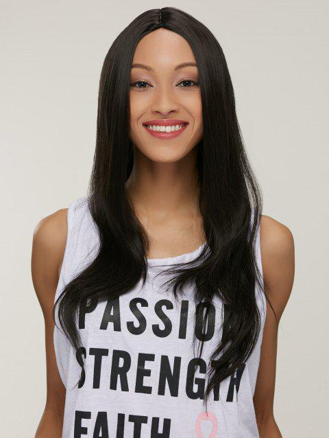 Middle Part Synthetic Silky Straight Capless Long Wig - BLACK