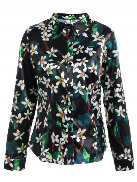 391324d2c37 17% OFF  2019 Long Sleeve Floral Print Fitted Shirt In BLACK L ...