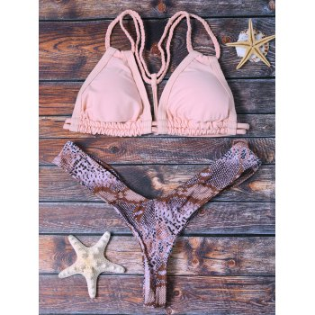 Trendy Women's Python Pattern Crochet Bikini Set - L L