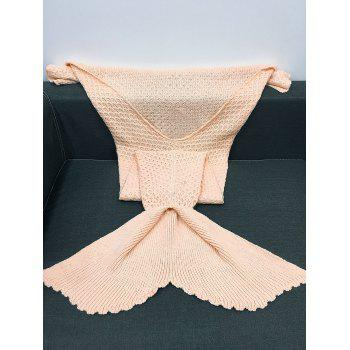 High Quality Solid Color Sequins Knitting Rhombus Design Mermaid Tail Blanket - LIGHT APRICOT PINK