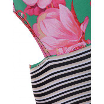 Hollow Out Floral and Stripe Panel One-Piece Swimwear - COLORMIX L