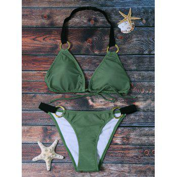 Stylish Deep Green Halter Bikini Suit For Women
