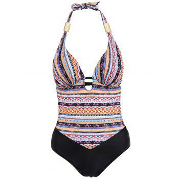 Sexy Halter Spliced Plus Size Tribal Print One-Piece Women's Swimwear