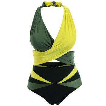 Stylish Halter Sleeveless Two-Piece Color Block Women's Swimsuit