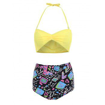 Active Yellow Bra and High Waist Printed Briefs Tankini For Women