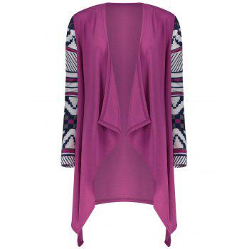 Loose Long Sleeve Print Asymmetrical Cardigan For Women