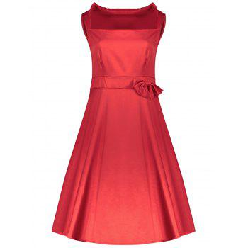 Vintage Turn-Down Collar Sleeveless Bowknot Embellished Solid Color Women's Dress - S S