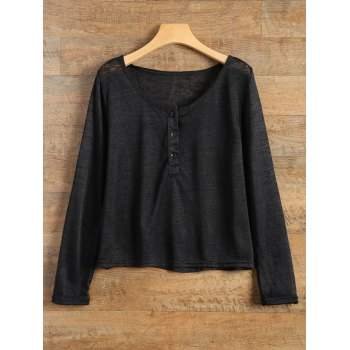 Pullover Long Sleeve Scoop Neck Solid Color Blouse For Women - BLACK 2XL