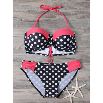 Polka Dot Halter Backless Bikini Set