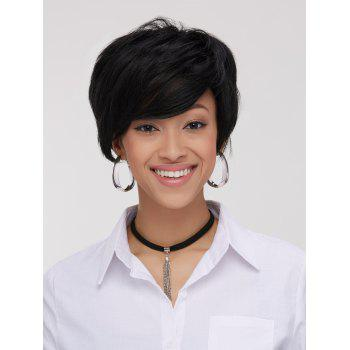Spiffy Boy Haircut Straight Capless Black Synthetic Women's Wig