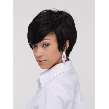 Spiffy Boy Haircut Straight Capless Black Synthetic Women's Wig - BLACK