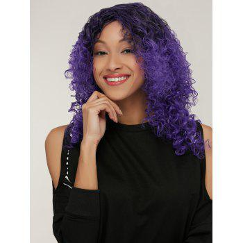 Medium Black Mixed Purple Side Parting Afro Curly Synthetic Wig