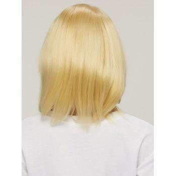 Short Golden Mixed Layered Straight Side Bang Synthetic Hair Wig -  COLORMIX