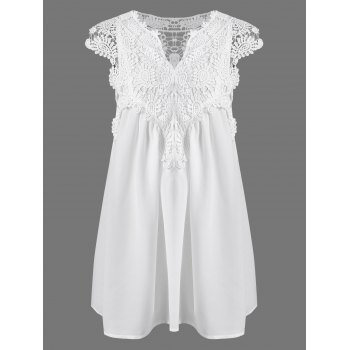 Stylish V-Neck Sleeveless Lace Splicing Blouse For Women
