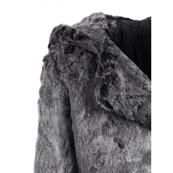 Bear Faux Fur Hooded Coat - GRAY XL