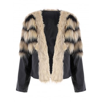PU Leather Faux Fur Jacket