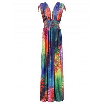 Sexy Colorful Feather Print Plunging Neck Sleeveless Dress For Women