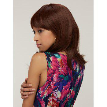 Full Bang Synthetic Silky Straight Capless Medium Wig - BROWN BROWN