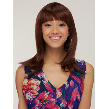 Full Bang Synthetic Silky Straight Capless Medium Wig -  BROWN