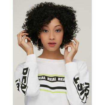 Short Side Bang Afro Curly Synthetic Wig - BLACK BROWN