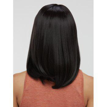 Synthetic Medium Side Parting Straight Wig - BLACK
