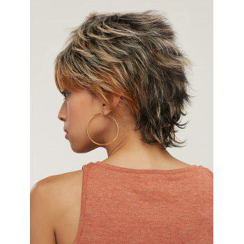 Short Fluffy Mixed Color Slightly Curled Side Bang Synthetic Wig - COLORMIX