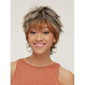 Short Fluffy Mixed Color Slightly Curled Side Bang Synthetic Wig