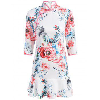 Floral Printed Mini Mandarin Dress