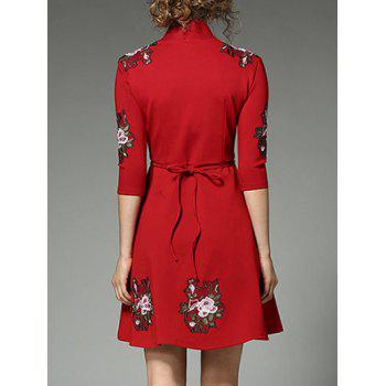 Floral Embroidered Surplice Dress - RED S