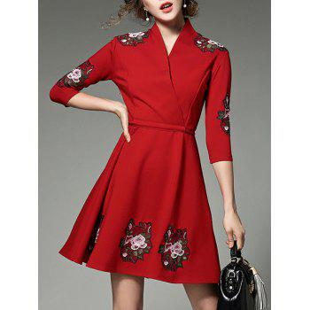 Floral Embroidered Surplice Dress