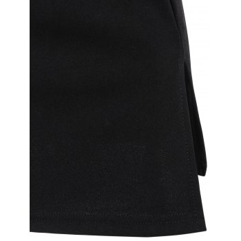 Raglan Sleeve Lace Panel Slit Dress - BLACK XL