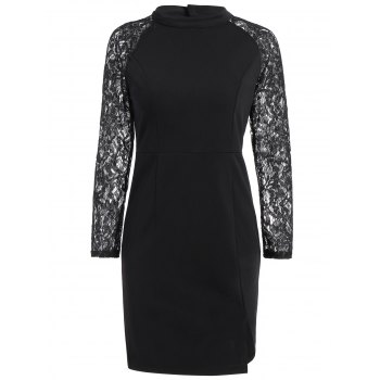 Raglan Sleeve Lace Panel Slit Dress - BLACK L
