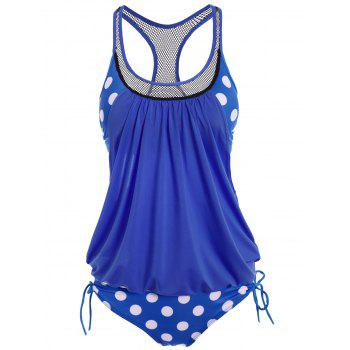 Polka Dot Print Round Neck Racerback Tankini with Padded Bra