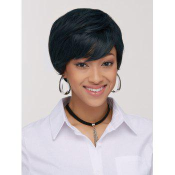 Manly Women's Ink Turquoise Short Shaggy Side Bang Synthetic Wig - COLORMIX