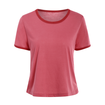 Short Sleeve Contrasting Piped Ringer T-Shirt