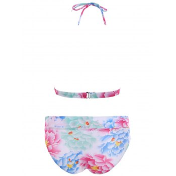Floral Padded Halter Bikini Swimwear - COLORMIX COLORMIX