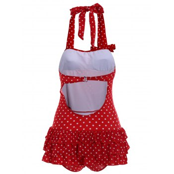 Stylish Women's Halter Neck Backless Polka Dot Flounce One-Piece Swimsuit - RED RED
