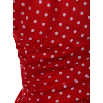 Halter Skirted Polka Dot Ruffles Swimsuit - RED RED